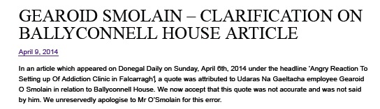 donegal daily retraction