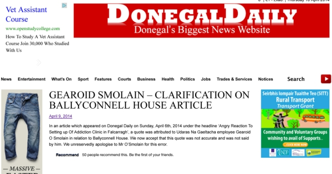 GEAROID SMOLAIN – CLARIFICATION ON BALLYCONNELL HOUSE ARTICLE