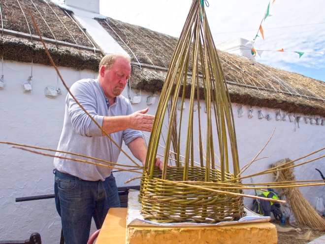basket weaving Donegal, creel making Donegal