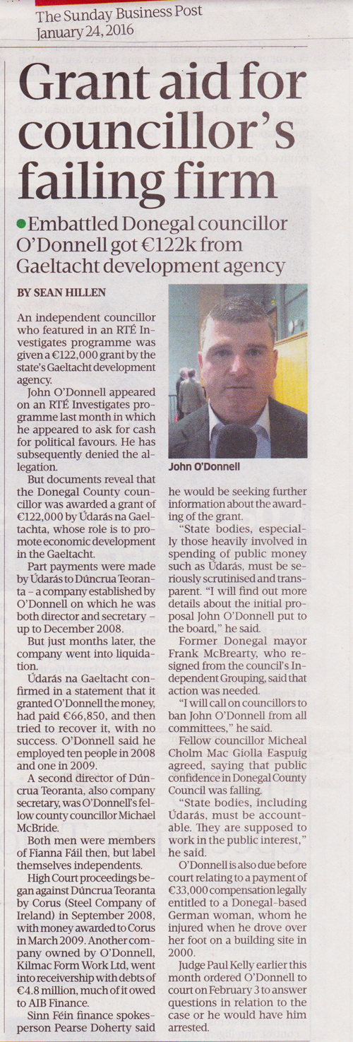 Sean Hillen Sunday Business Post, Councillor O'Donnell Donegal
