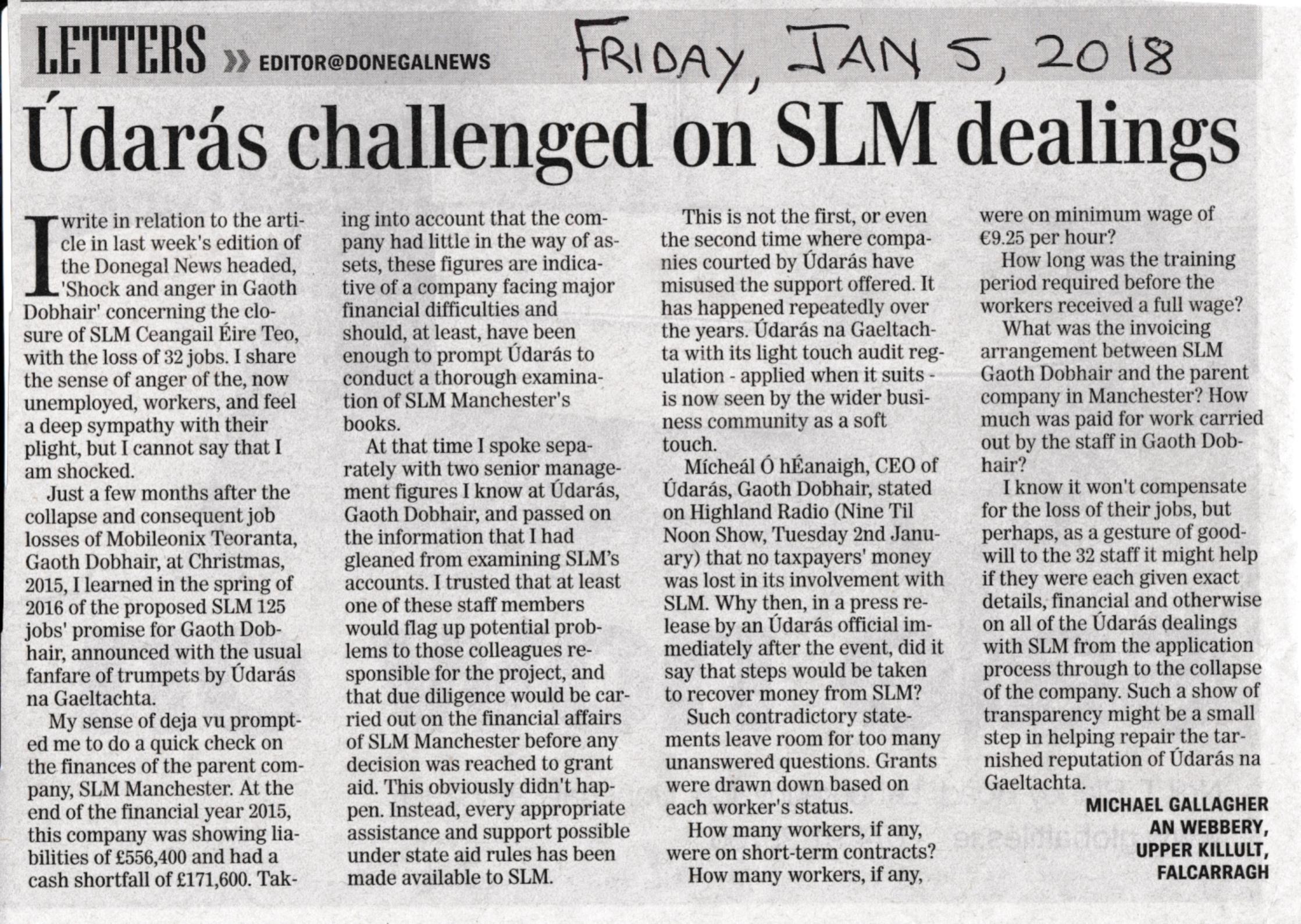 Michael Gallagher letter about SLM, Udaras and SLM