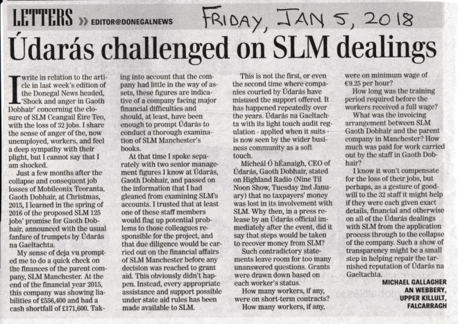 Michael Gallagher letter about SLM, Udaras and SLM