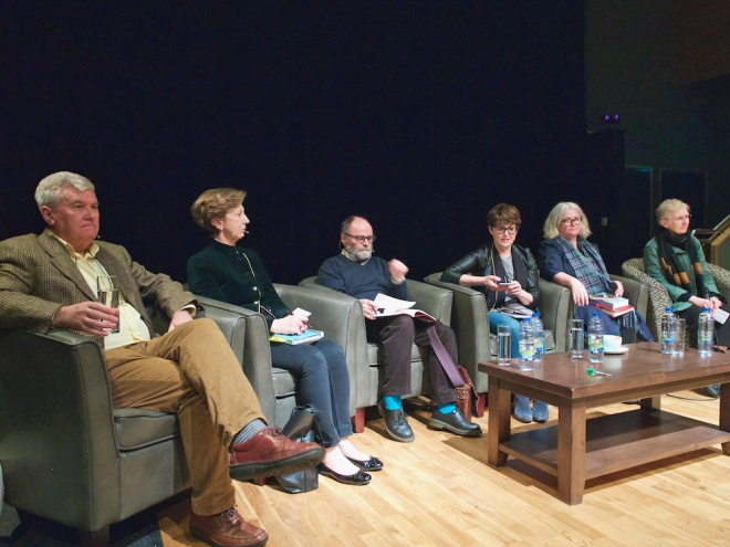 Sean Hillen speaking at Seamus Heaney HomePlace, Olivia O'Leary, Marie-Louis Muir